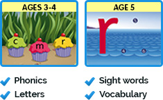 Phonics Letter recognition Sight words Vocabulary