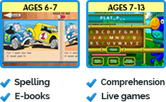 Spelling, E-books, Comprehension, Live games