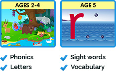 Ages 2-4 Phonics and Letters, Age 5 Sight words and Vocabulary