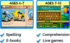 Ages 6-7 Spelling and E-books, Ages 7-13 Comprehension, Live games
